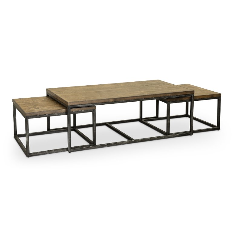Brown Industrial Rustic Nesting Coffee Table Chandler RC Willey New Living Room Chandler