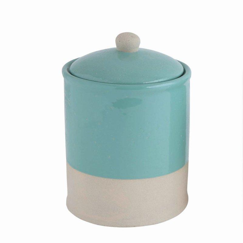 Rc Willey Orem: Aqua And White Stoneware Glazed Lidded Canister