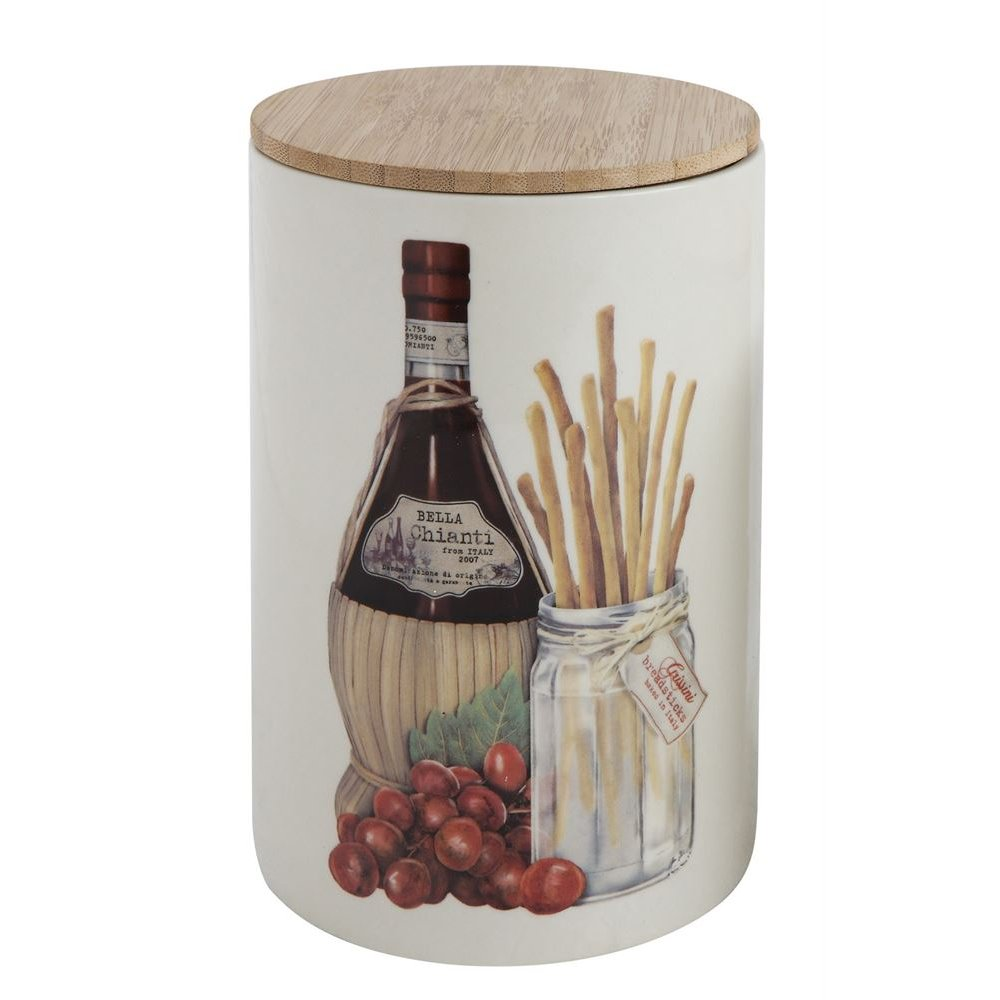 Rc Willey Boise Idaho: Multi-Color Stoneware Wine And Bread Canister With Bamboo