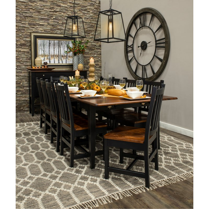 Maple and Black 5 Piece Dining Set with Slat Back Chairs - Saber