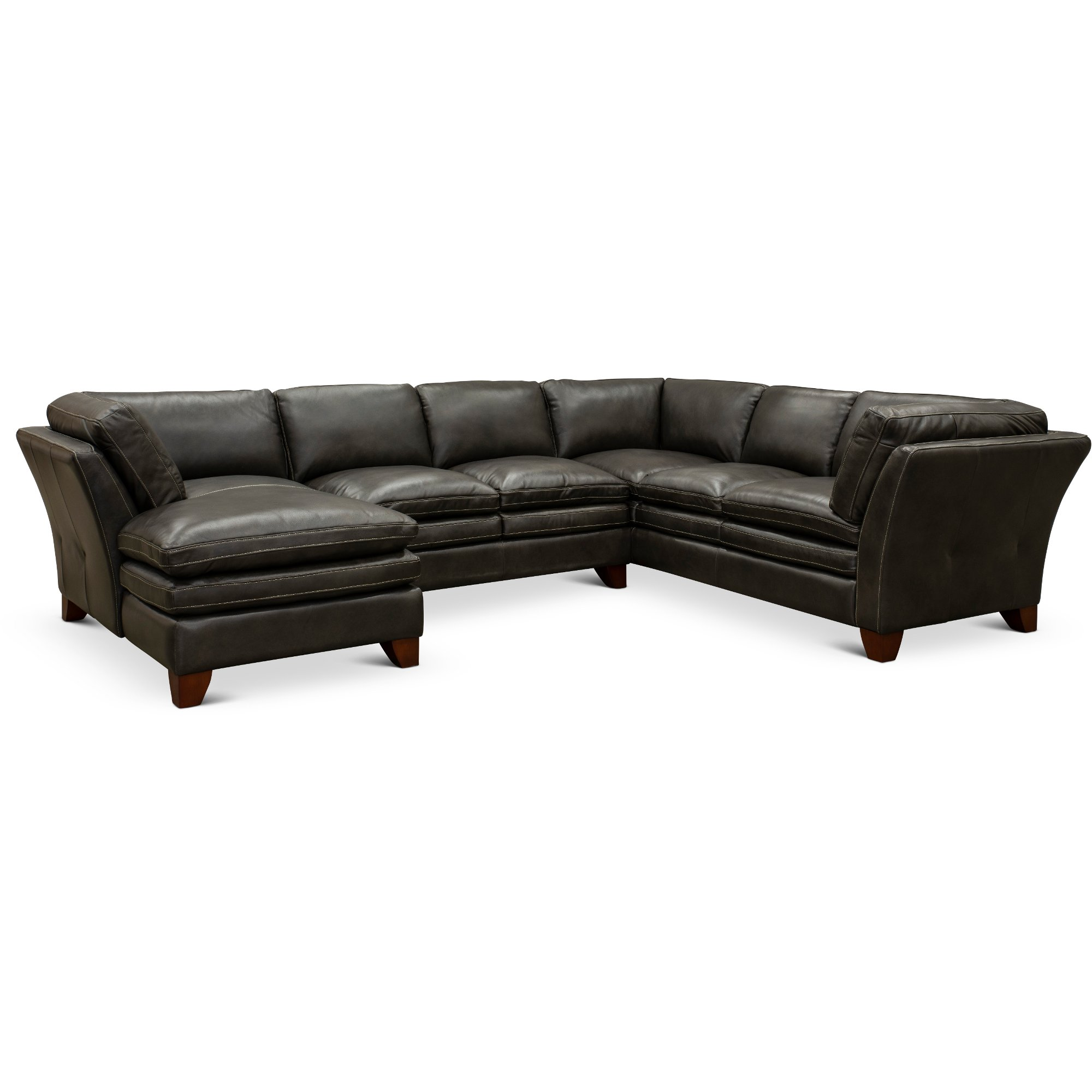 Charcoal Leather 3 Piece Sectional Sofa with LAF Chaise - Sierra