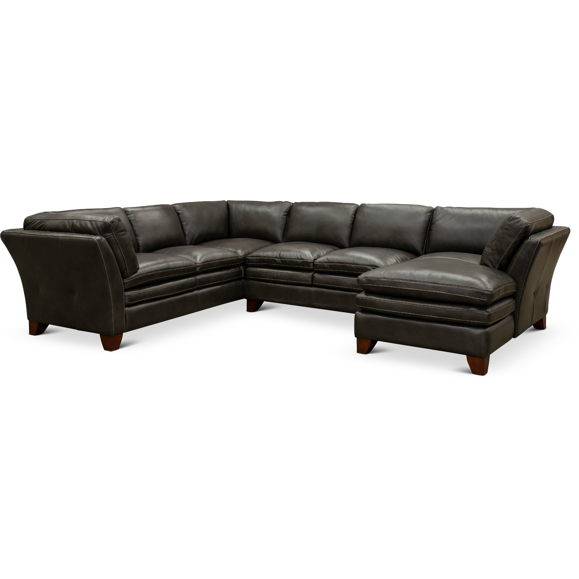 Charcoal Leather 3 Piece Sectional Sofa with RAF Chaise - Sierra