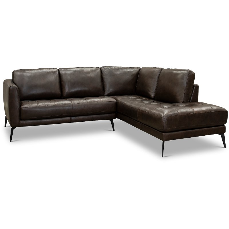 Dark Brown 2 Piece Sectional Sofa With Raf Chaise Clico