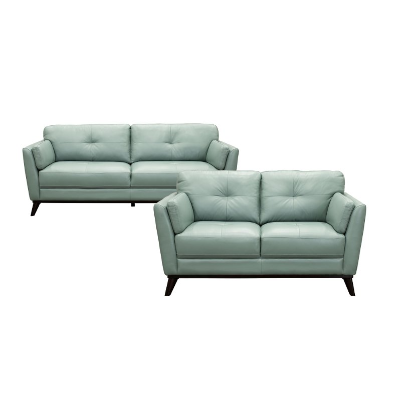 Modern Seafoam Green Leather 2 Piece Living Room Set Warsaw Rc Willey Furniture