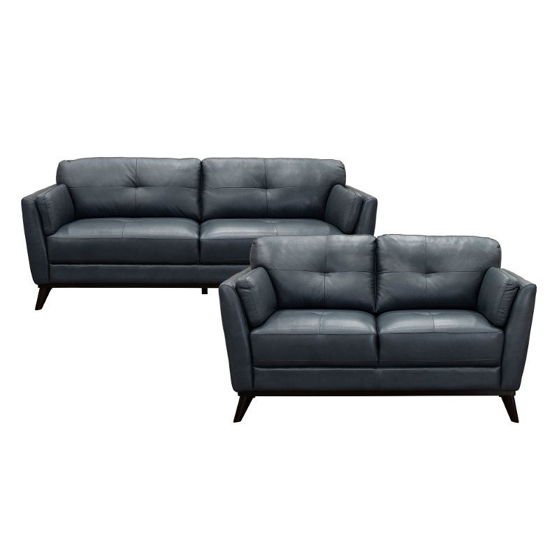 Tremendous Modern Dark Blue Leather 2 Piece Living Room Set Warsaw Beutiful Home Inspiration Truamahrainfo