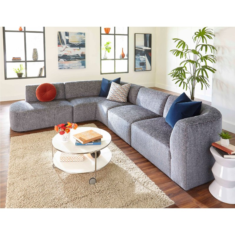 Modern Gray 4 Piece Sectional Sofa With LAF Chaise   Nyla