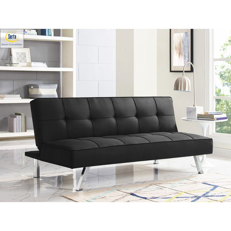 Black Serta Convertible Sofa Bed Carly Rc Willey