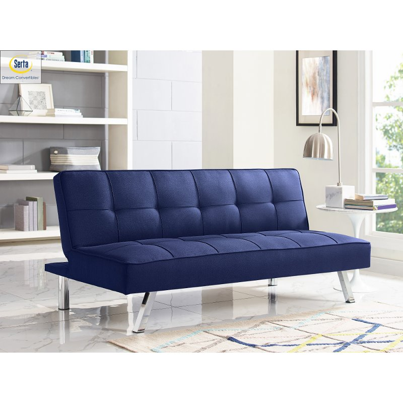 Navy Blue Serta Convertible Sofa Bed Carly Rc Willey