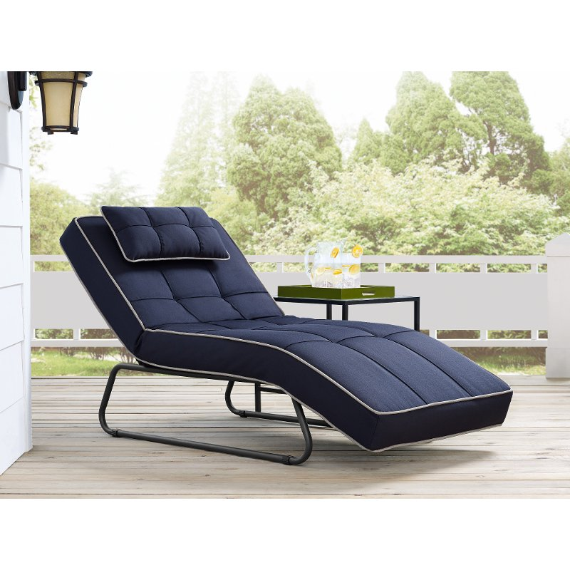 Navy Blue Outdoor Patio Chaise Lounge Baylands Rc