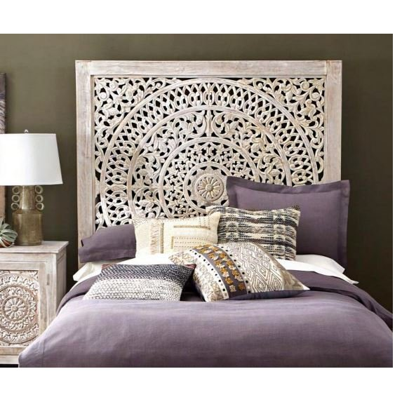 Carved Rustic White Queen Bed Lace