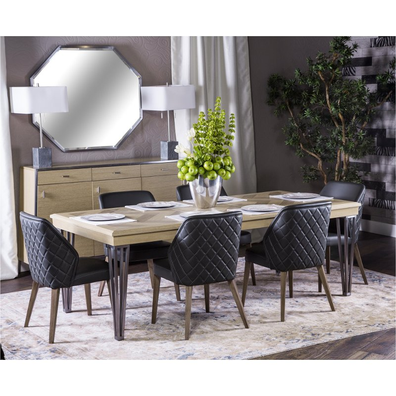 Contemporary Sand and Black 5 Piece Dining Set - Silverlake Village