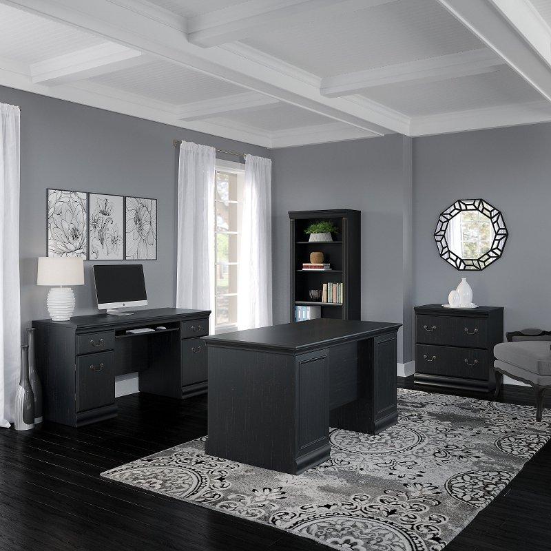 Antique Black 4 Piece Office Desk Set