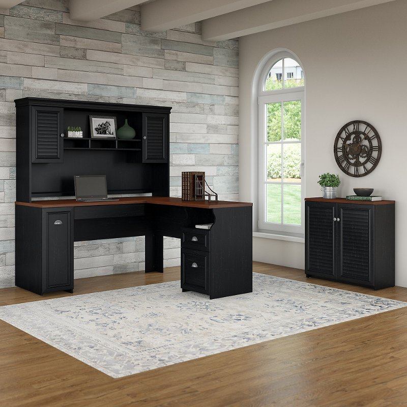 Astounding Antique Black And Hansen Cherry 3 Piece Office Desk Set Fairview Download Free Architecture Designs Scobabritishbridgeorg