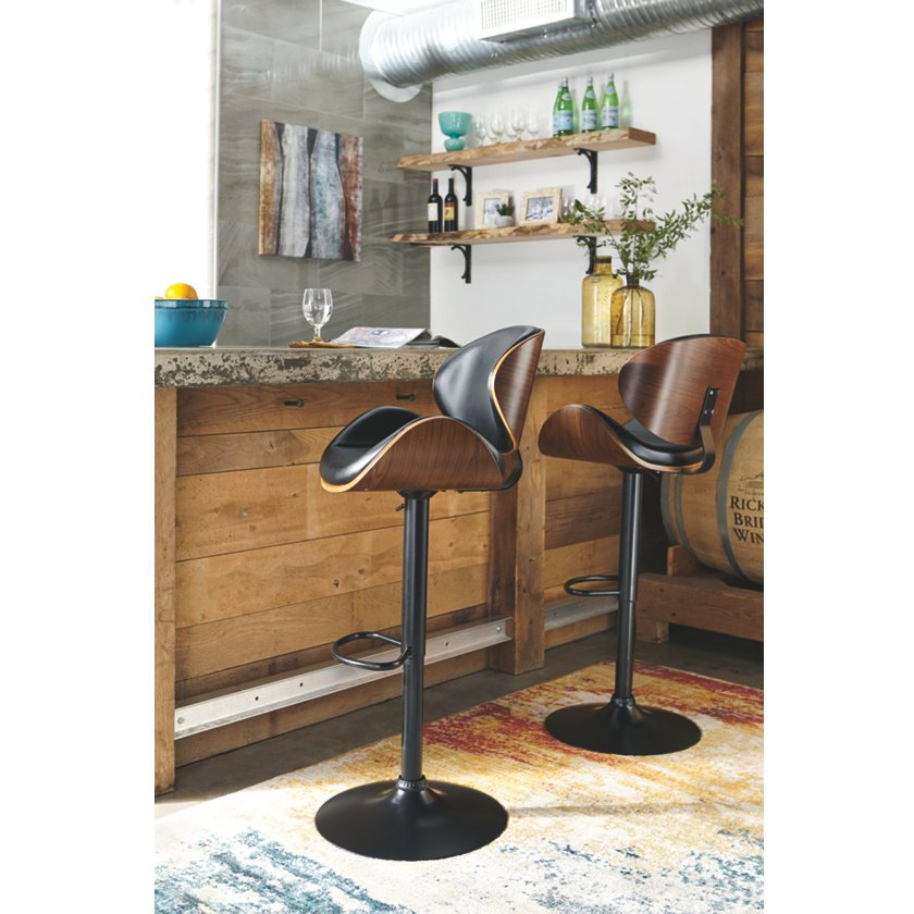 Pleasant Brown And Black Adjustable Height Swivel Bar Stool Bellatier Caraccident5 Cool Chair Designs And Ideas Caraccident5Info