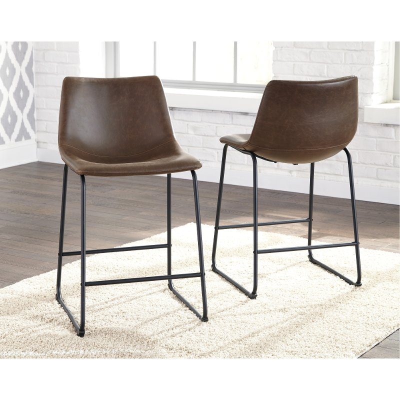 Surprising Set Of 2 Urban Brown And Black Counter Height Stools Centiar Pabps2019 Chair Design Images Pabps2019Com