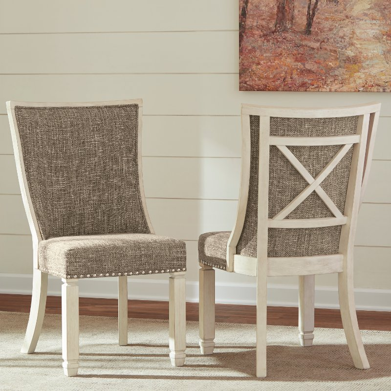 Antique Dining Chairs >> Set Of 2 Antique White Upholstered Dining Chairs Bolanburg Rc