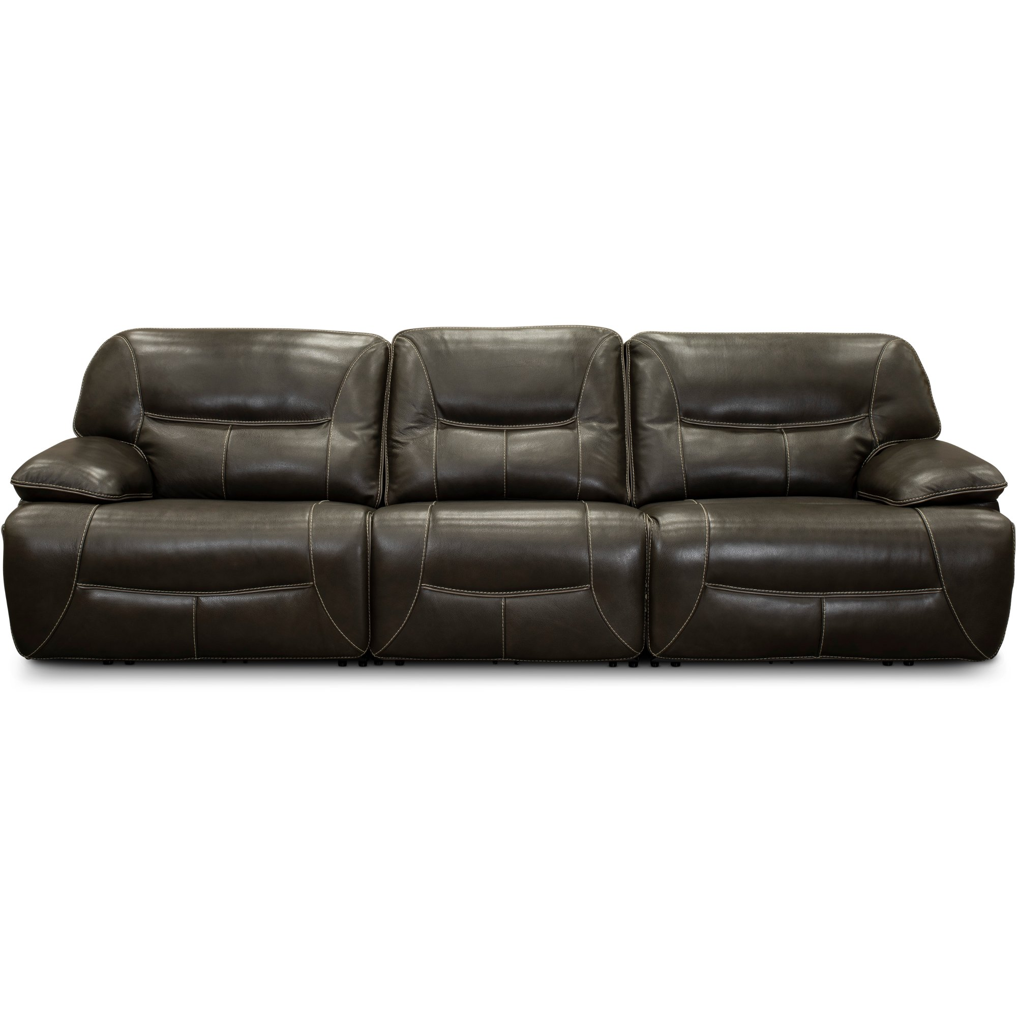 Steel Gray Leather Match Triple Power Reclining Sofa   Max