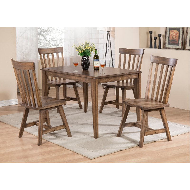Walnut Brown 5 Piece Dining Set Aspen Rc Willey Furniture Store