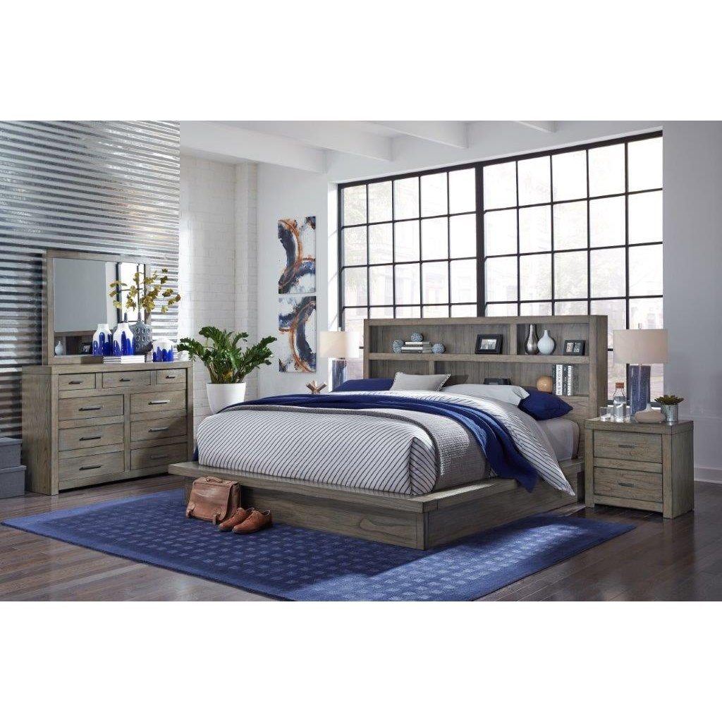 Modern Gray 4 Piece California King Bedroom Set - Modern Loft