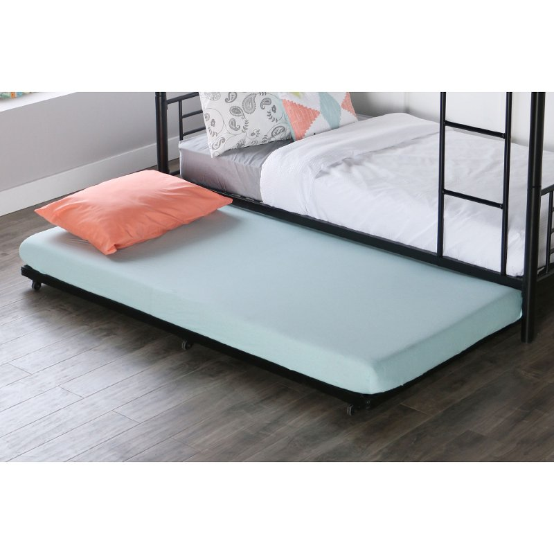 purchase cheap 46dbe eeabf Black Roll-Out Twin Metal Trundle Bed