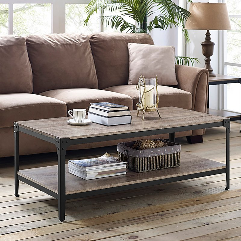Exceptionnel Driftwood Angle Iron Rustic Wood Coffee Table