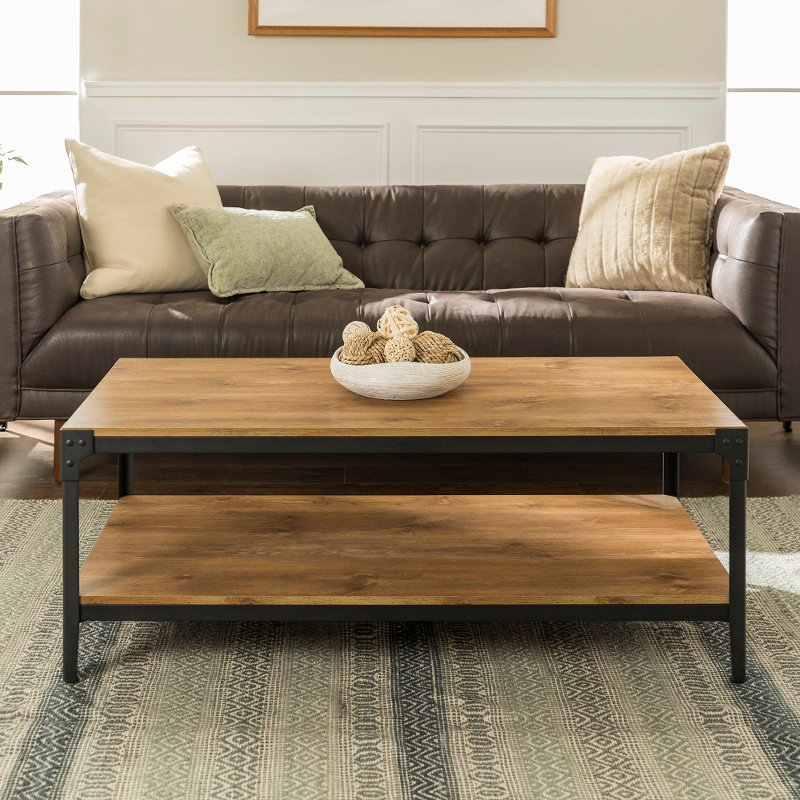 Barnwood Angle Iron Rustic Wood Coffee Table Rc Willey Furniture Store