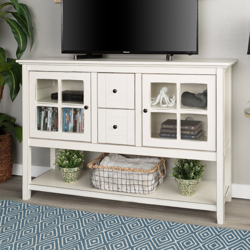 Antique White 52 Inch Buffet Tv Stand Rc Willey Furniture Store