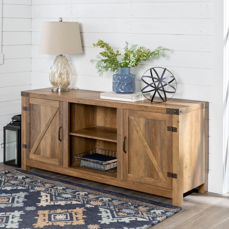 Rustic Oak Farmhouse Tv Stand With Barn Doors 58 Inch Rc Willey Furniture Store