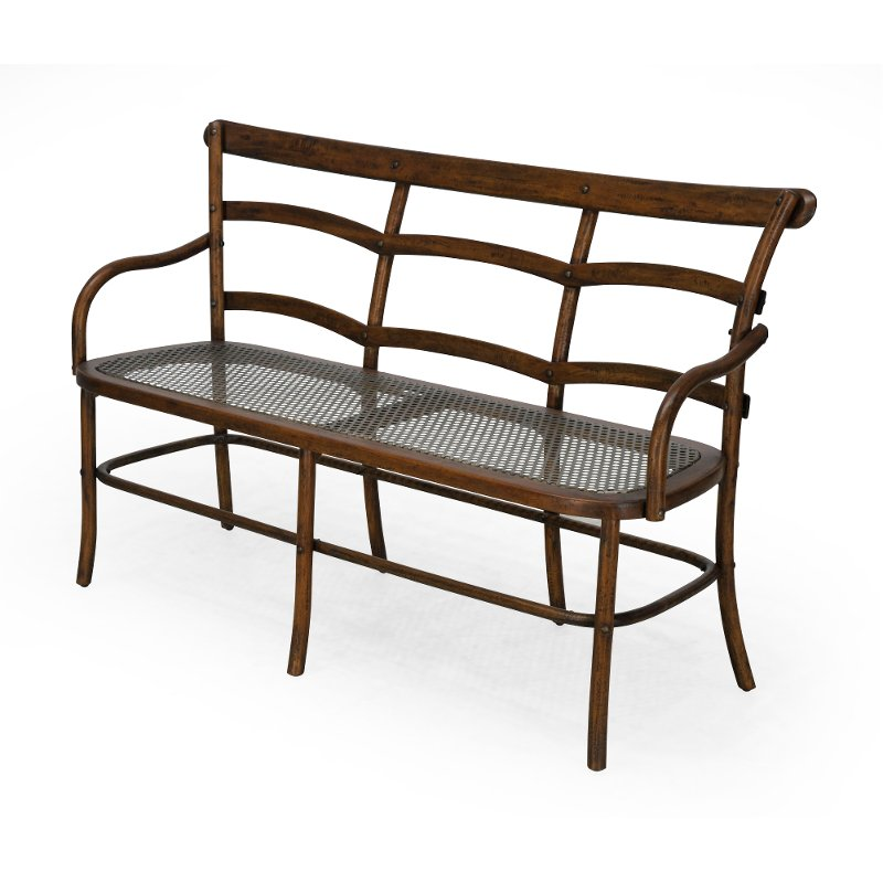 Astonishing Coffee Brown Three Seater Bench With Metal Mesh Seat Chevell Ocoug Best Dining Table And Chair Ideas Images Ocougorg