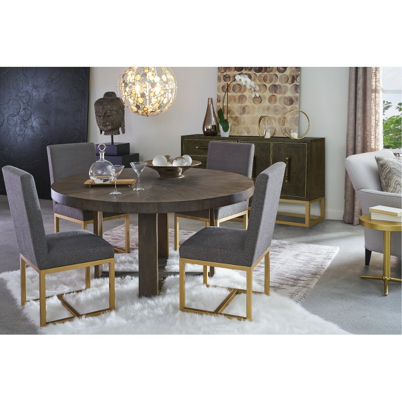 Contemporary Gray And Champagne Round 5 Piece Dining Set Tango