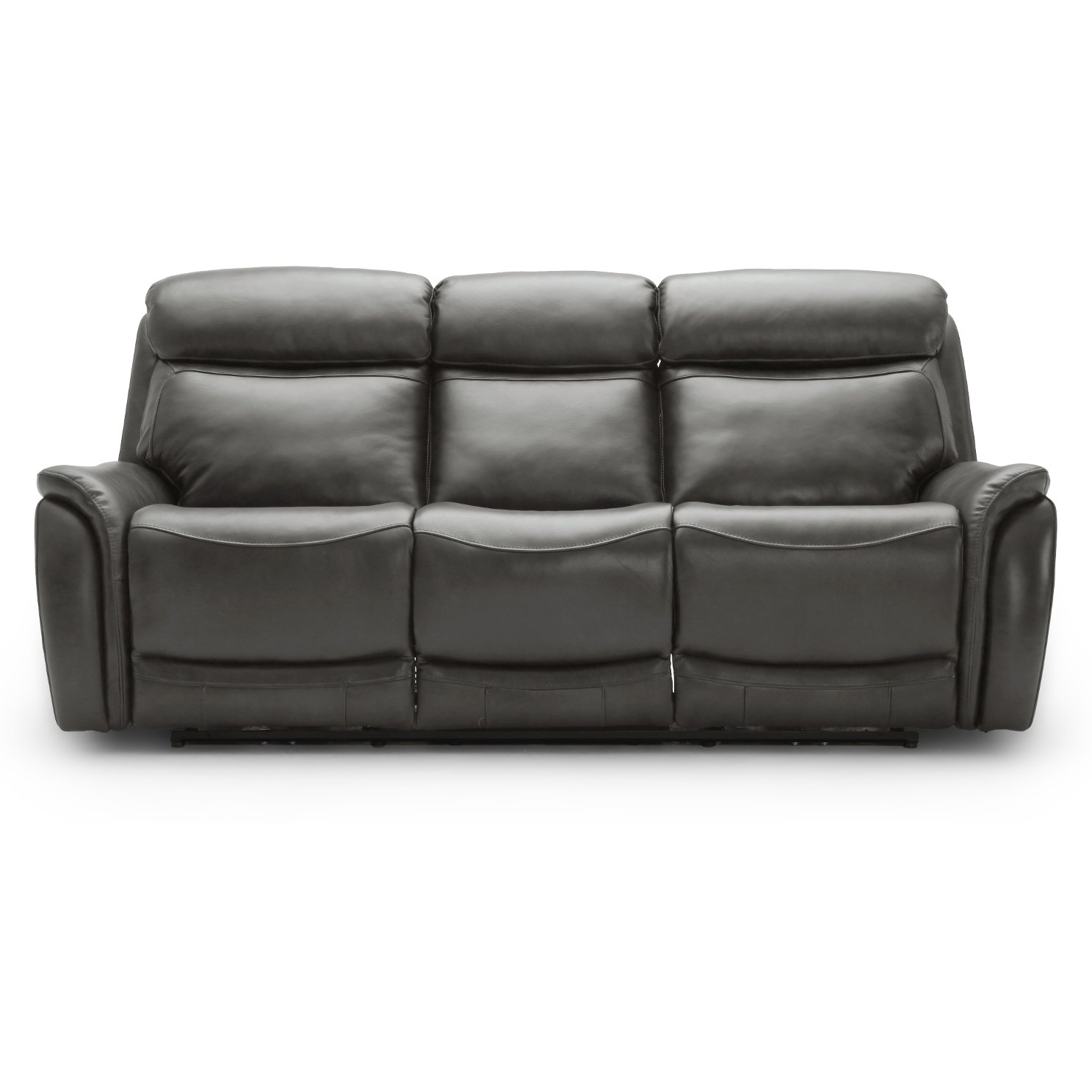 Gray Leather-Match Dual Power Reclining Sofa - Happy Happy