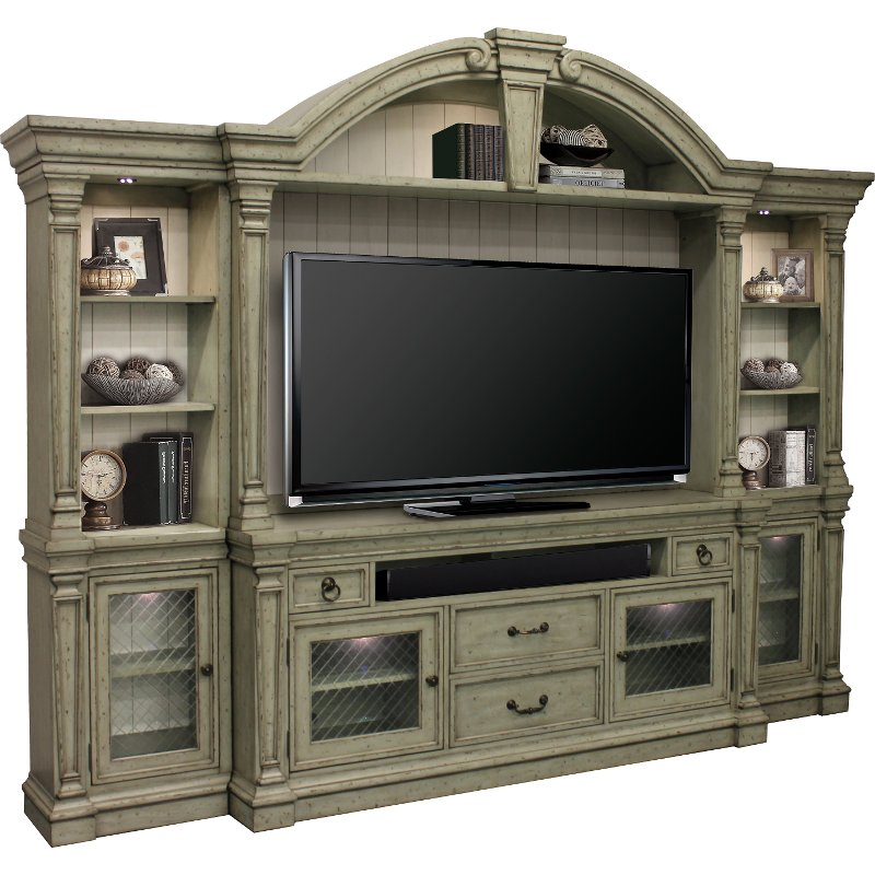 4 Piece Antique Sage Entertainment Center Lafayette Rc Willey