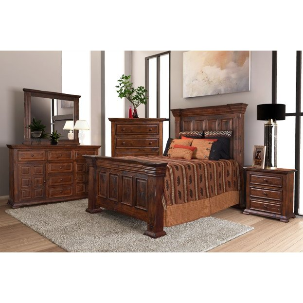 Classic Brown 4 Piece King Bedroom Set - Marquis