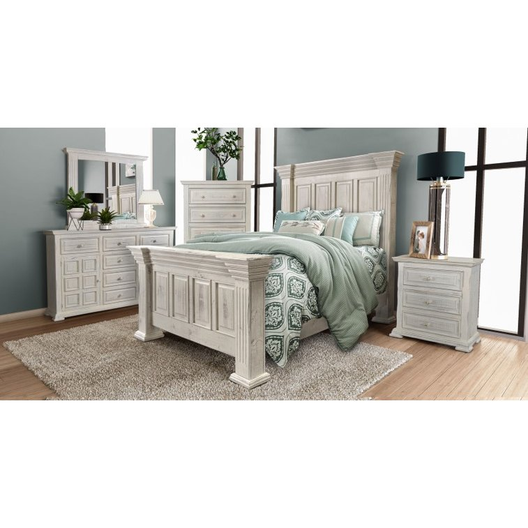 Rustic White 4 Piece King Bedroom Set - Marquis