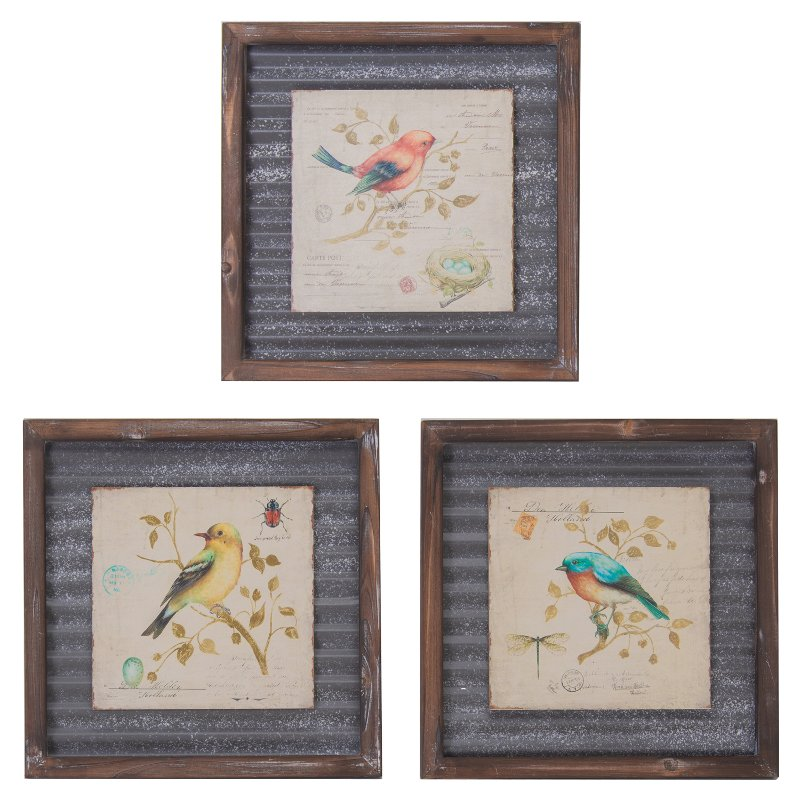 Assorted Wood And Metal Bird Framed Wall Art