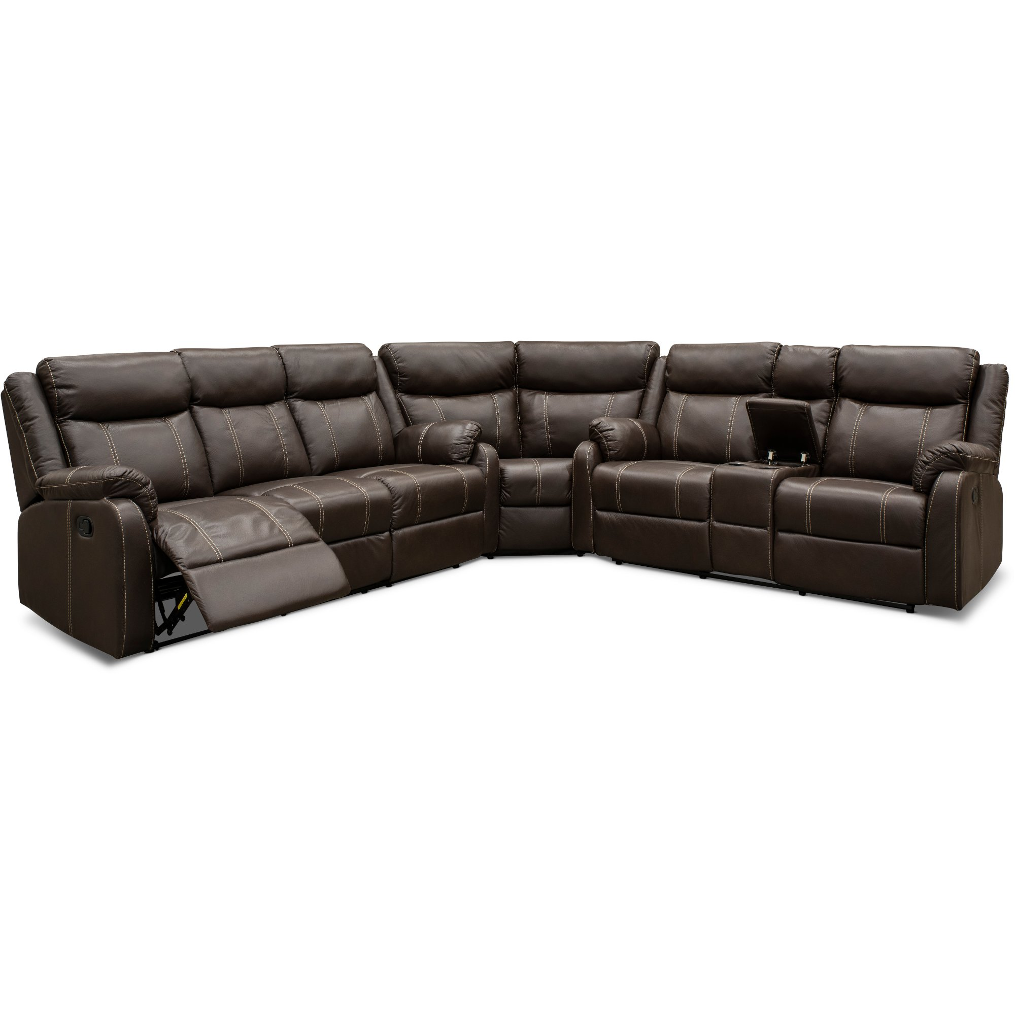 Fine Valor Chocolate Brown Dual Reclining Sectional Sofa Domino Dailytribune Chair Design For Home Dailytribuneorg