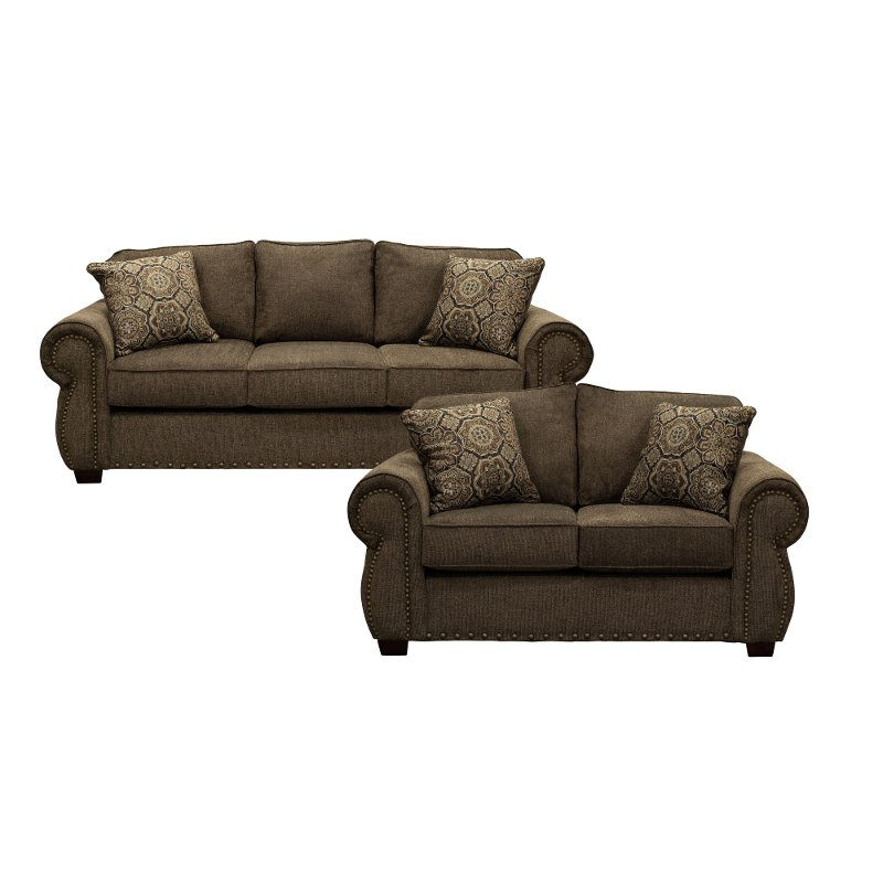 Coffee Brown 2 Piece Living Room Set with Sofa Bed - Southport