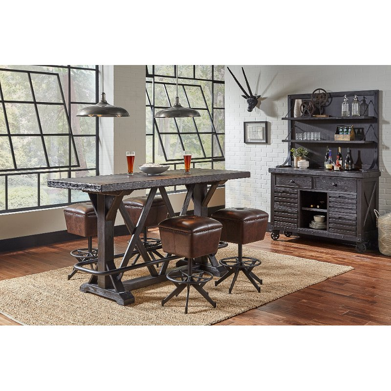 Rustic Industrial 5 Piece Bar Dining Set Conversation