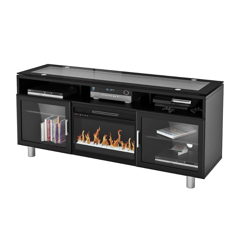 72 Inch Black Fireplace Media Tv Stand Madie Rc Willey Furniture