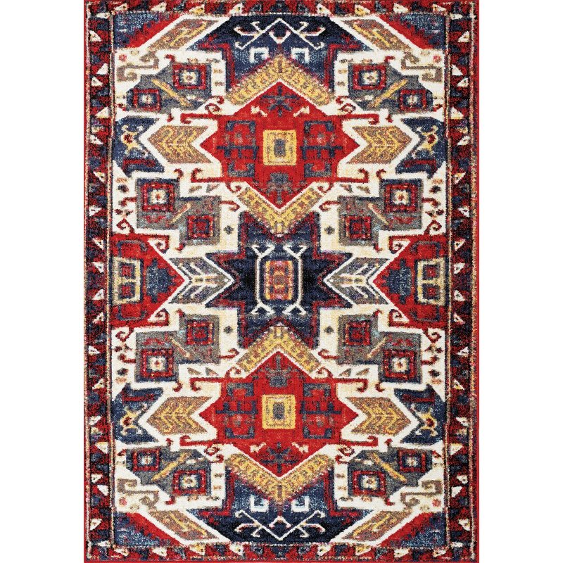 Ikat Red Blue And Cream Area Rug
