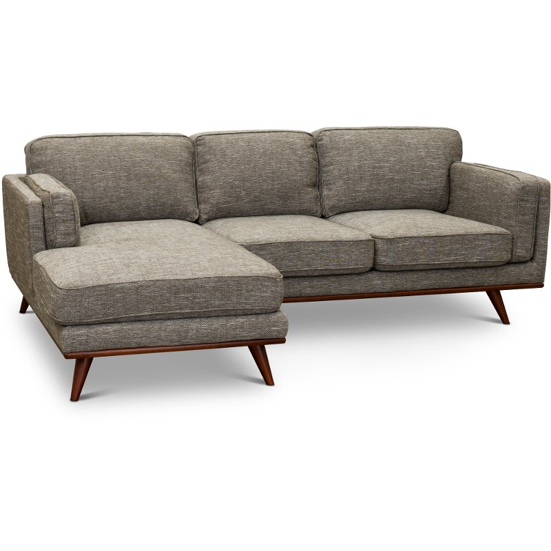 Beau Modern Gray Sectional Sofa With RAF Loveseat   Camden