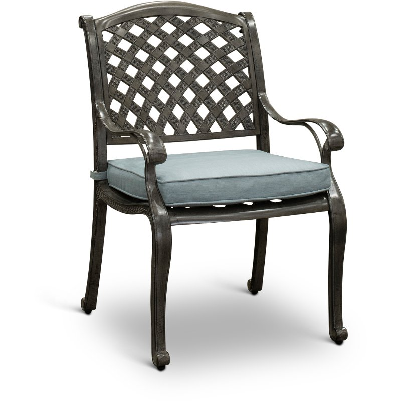 Gray Metal Patio Dining Chair Macan Rc Willey Furniture Store