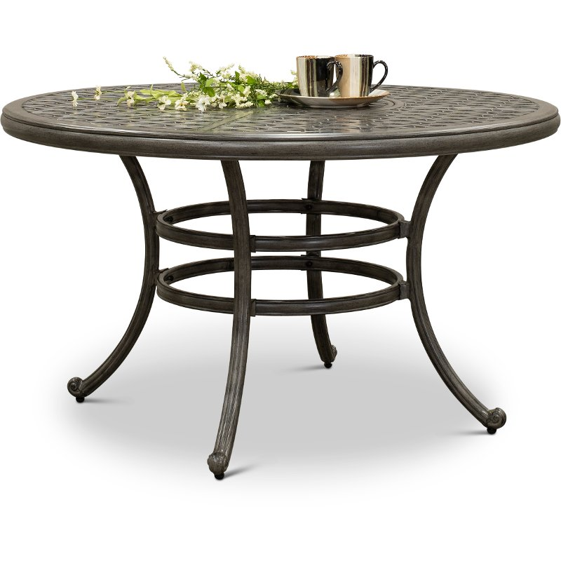 Gray 52 Inch Round Patio Table Macan Rc Willey Furniture Store