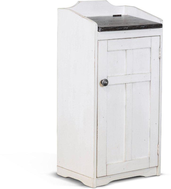 White Wooden Trash Bin With Dark Lid Drew