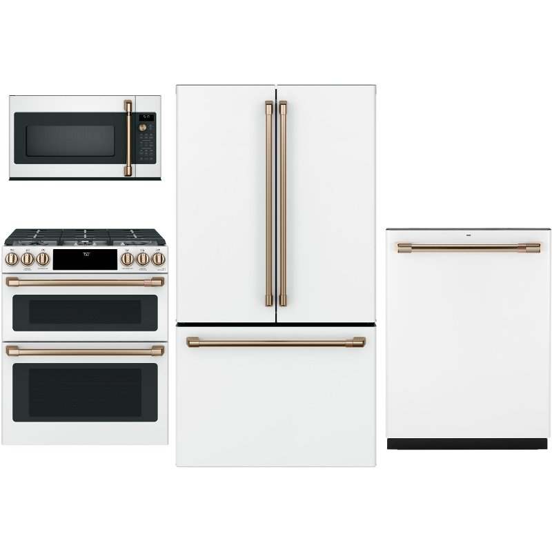 Charmant GE Cafe 4 Piece Kitchen Appliance Package With Gas Range   White   RC  Willey Furniture Store