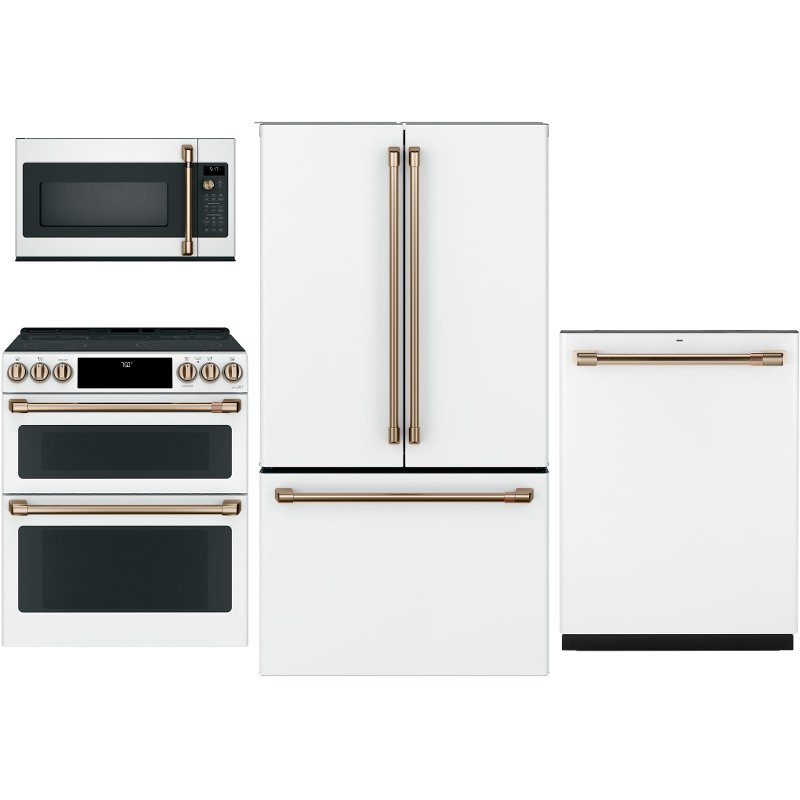 cafe 4 piece kitchen appliance package with electric range