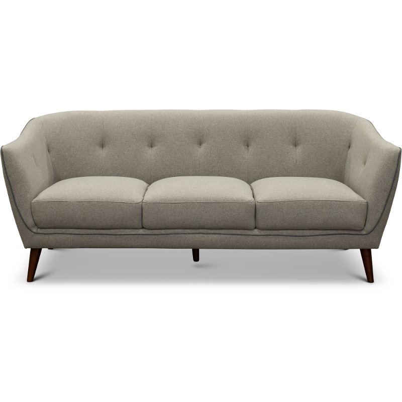 Mid Century Modern Light Gray Sofa - Avery