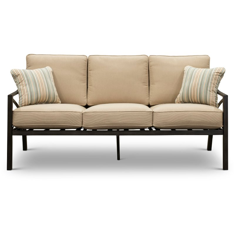 Sand Sunbrella Patio Sofa With Pillows Davenport Rc Willey