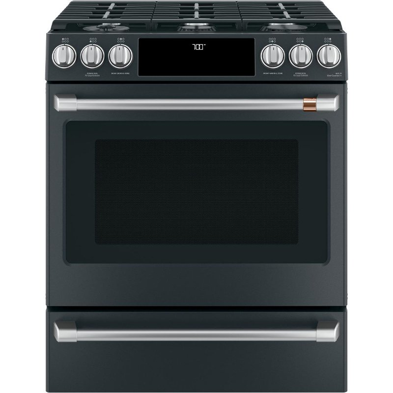 Cafe 30 Slide In Front Control Gas Oven With Convection Range