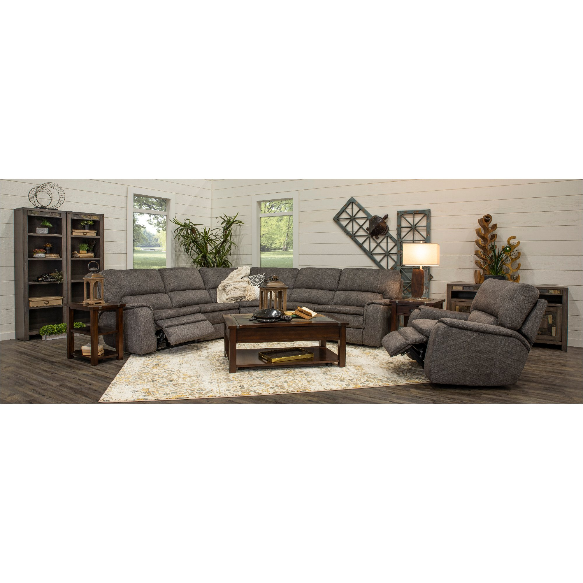 Outstanding Silver Gray 5 Piece Power Reclining Sectional Sofa Cyprus Pdpeps Interior Chair Design Pdpepsorg